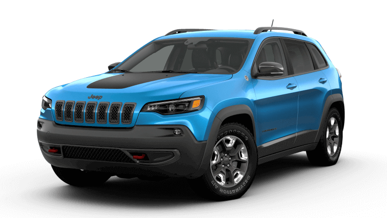 A blue Jeep Cherokee Trailhawk