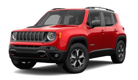 A red 2019 Jeep Renegade Trailhawk