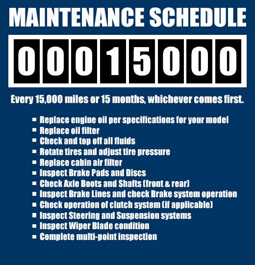 Every 15,000 miles or 15 months, whichever comes first. Replace engine oil per specifications for your model, Replace filter with Genuine Subaru oil filter, Check and top off all fluids, Rotate tires and set tire pressures, Replace cabin air filter, Inspect Brake Pads and Discs, Check Axle Boots and Shafts (front & rear), Inspect Brake Lines and check Brake system operation, Check operation of clutch system (if applicable), Inspect Steering and Suspension systems,Inspect Wiper Blade condition, Complete multi-point inspections