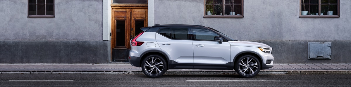 New Volvo XC40 parked on a city street