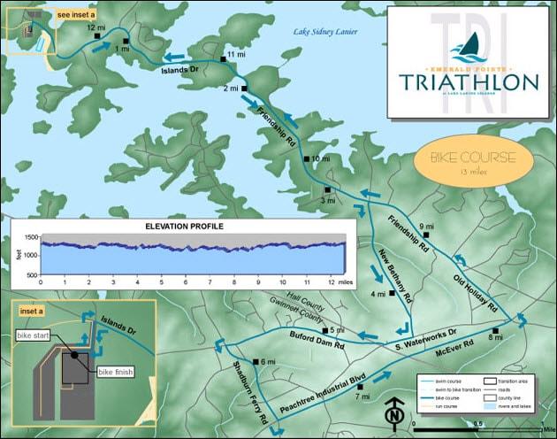 Lake Lanier Islands Triathlon bike path map