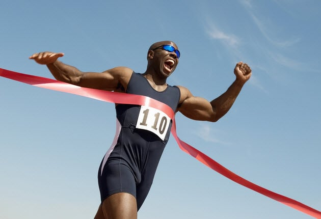 triathlete completing race