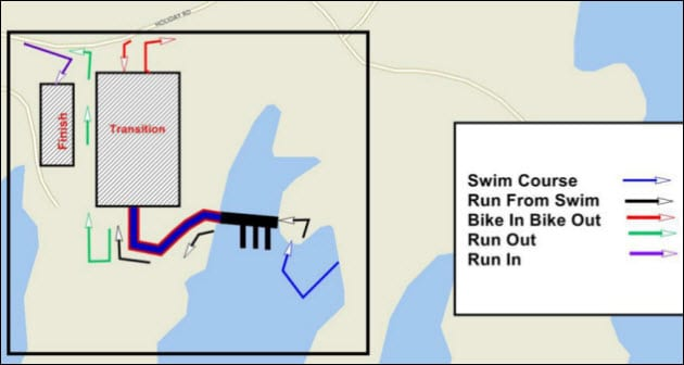 Lake Lanier Islands Triathlon swimming course map