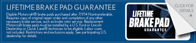 Brake Pad Guarantee Coupon, Buford
