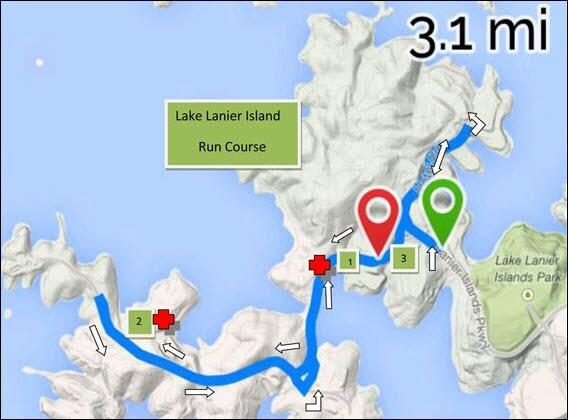 Lake Lanier Islands Triathlon 5K run map