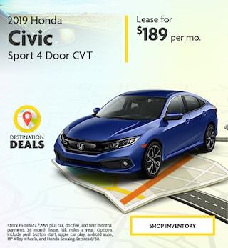 New 2019 Honda Civic Sport 4 Door CVT 6/4/2019