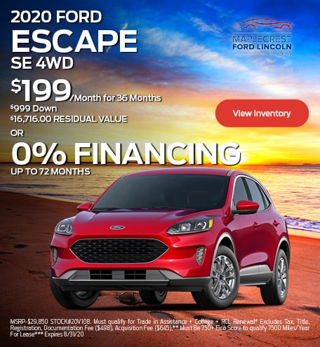 August 2020 FORD ESCAPE SE 4WD