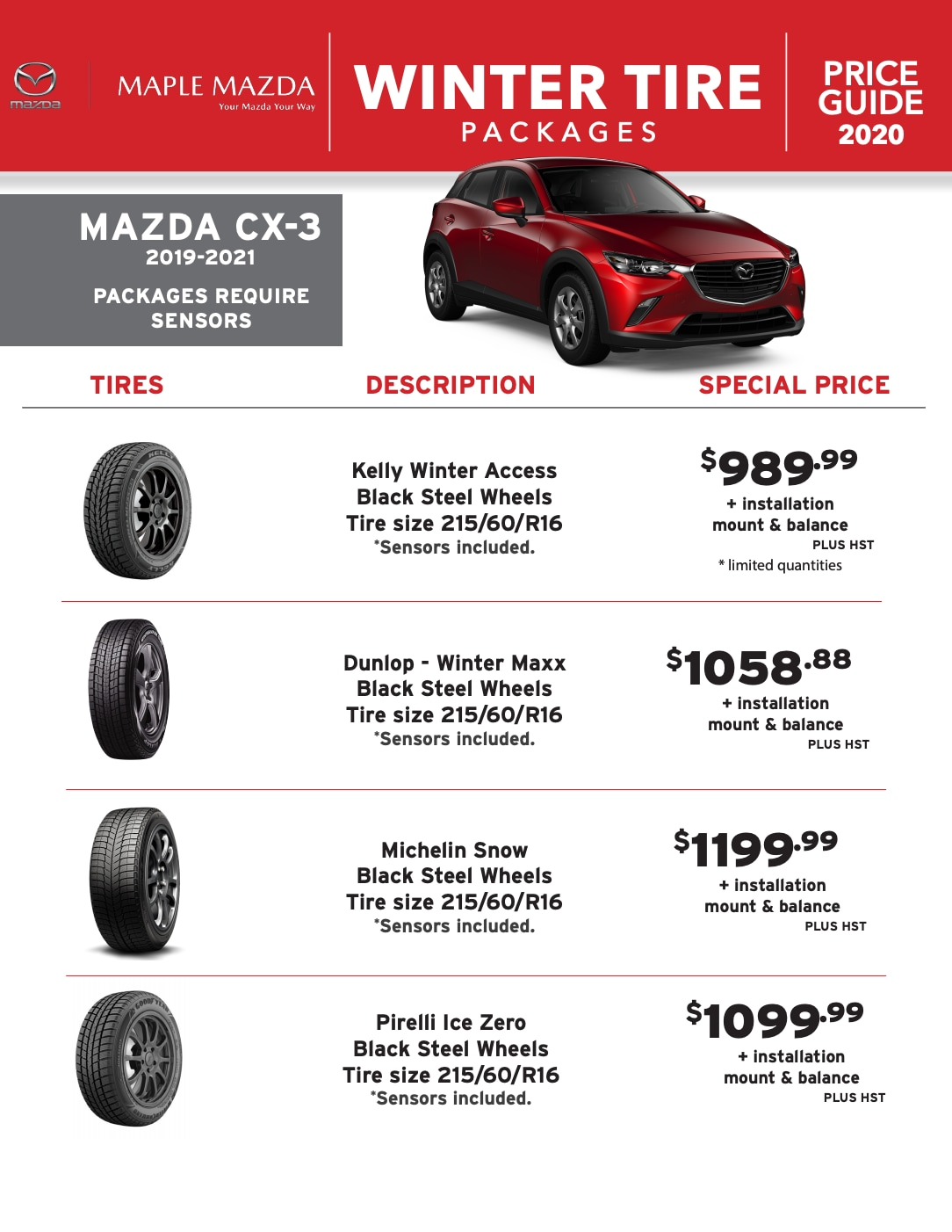 Winter Tire Packages in Maple, Ontario - MAZDA CX-3