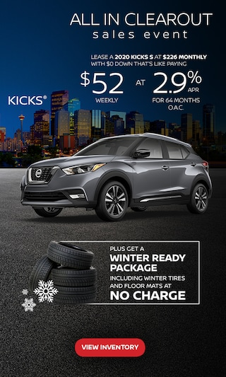 Finance from 0.0% APR for 60 months on select 2020 Kicks Models.