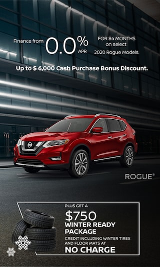 Finance from 0.0% APR for 84 months on select 2020 Rogue Models.