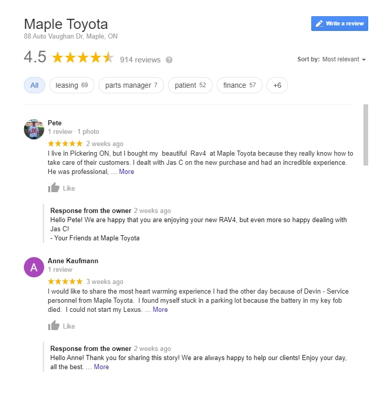 Car Dealership Reviews - Maple Toyota