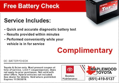 Free Toyota Battery Check