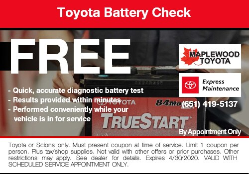 free toyota battery check service coupon