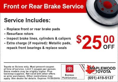 Toyota Brake Service Coupon