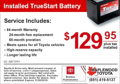 TrueStart Toyota Battery Coupon