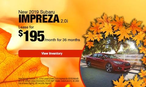 2019 Subaru Impreza   Lease Offer   October