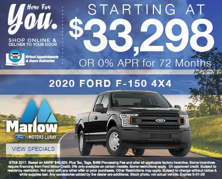2020 FORD F-150 4X4   Starting at $33,298 OR 0% APR for 72 Months