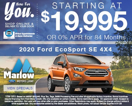 2020 Ford EcoSport SE 4X4  Starting at $19,995 OR 0% APR for 84 Months