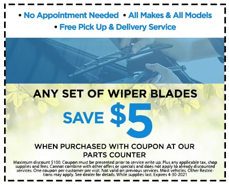 Save $5.00 Off any set of Wiper Blades