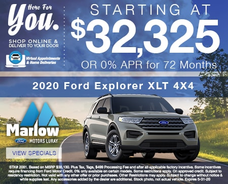 2020 Ford Explorer XLT 4X4  Starting at $32,325 OR 0% APR for 72 Months
