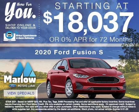 2020 Ford Fusion S   Starting at $18,037 OR 0% APR for 72 Months
