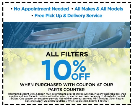 All Filters 10% Off , When Purchased with coupon at our Parts Counter