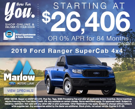 2019 Ford Ranger SuperCab 4x4  Starting at $26,406 OR 0% APR for 84 Months