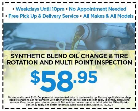 $58.95 SYNTHETIC BLEND OIL CHANGE & TIRE ROTATION AND MULTI