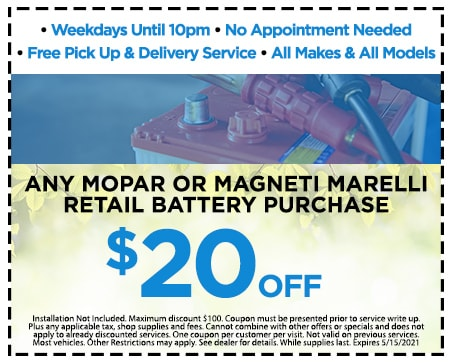 $20.00 off any Mopar or Magneti Marelli retail battery purchase