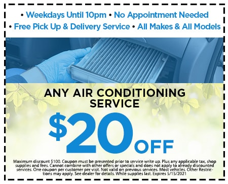 $20.00 OFF ANY AIR CONDITIONING SERVICE