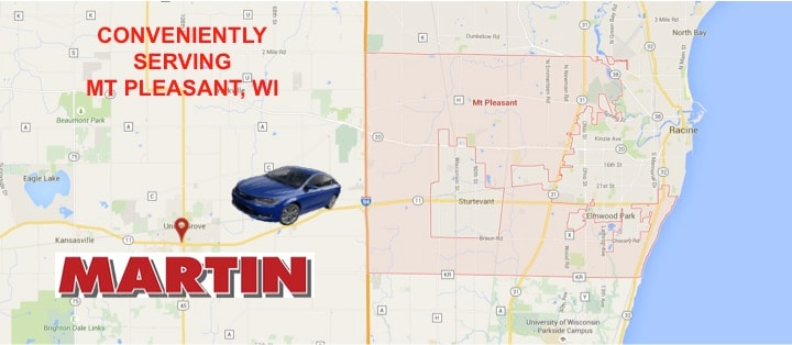 Driving direction from Mt Pleasant Wisconsin to Martins Garage