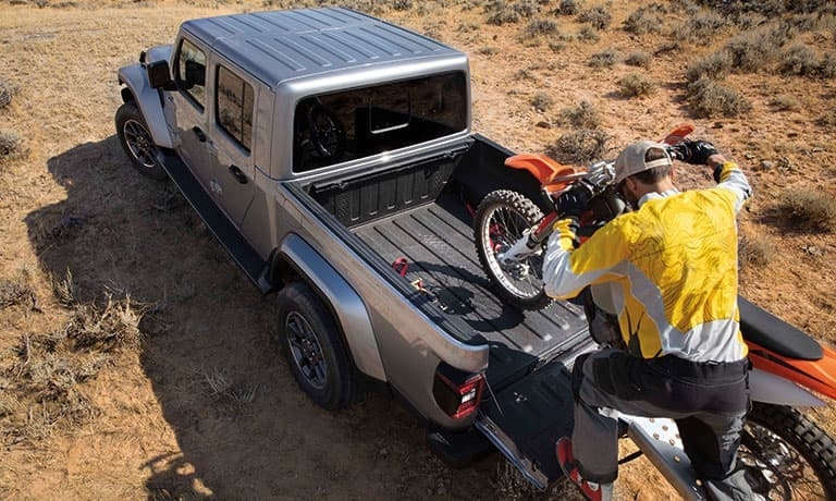 2020 Jeep Gladiator with motorbike