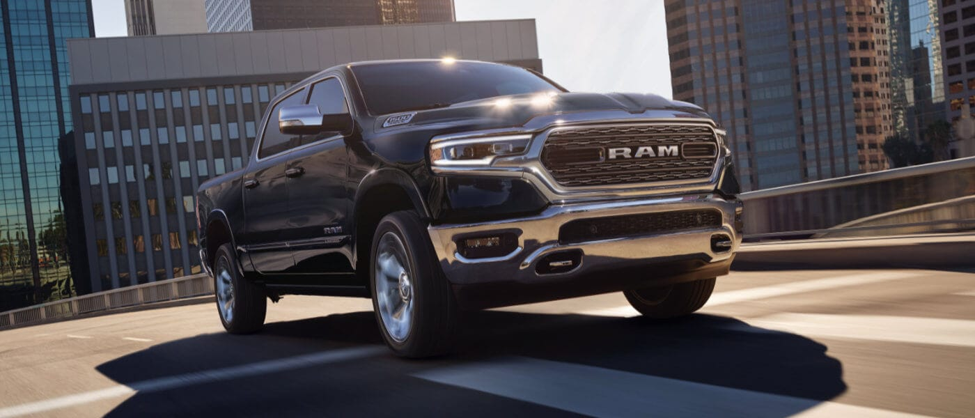 New Ram 1500 driving through the city