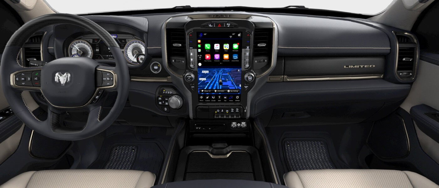 New Ram 1500 interior front dashboard view