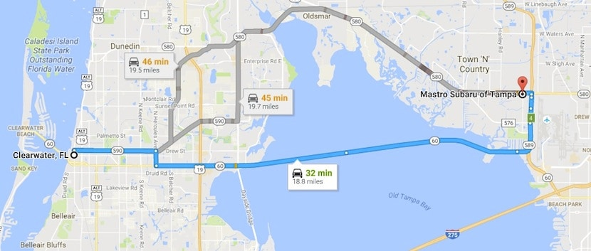 Directions to Mastro Subaru of Tampa from Clearwater FL