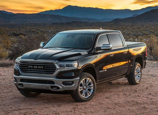 2019 Ram 1500 against Sunset