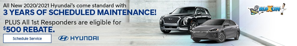 All New 2020/2021 Hyundai's come standard w/ 3 yrs of scheduled maintenance