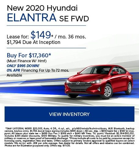May 2020 Hyundai Elantra SE FWD
