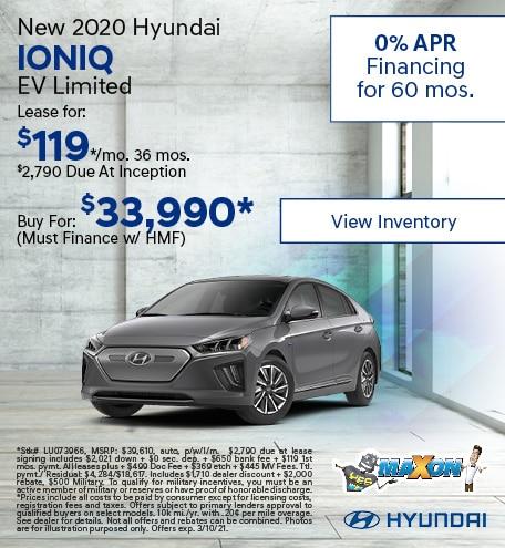 February New 2020 Hyundai IONIQ EV Limited