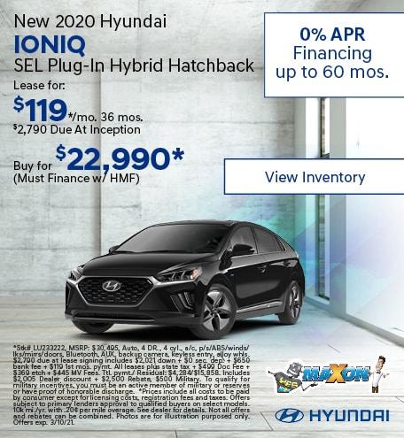 February New 2020 Hyundai IONIQ SEL Plug-In Hybrid Hatchback