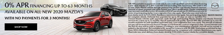 0% APR financing up to 63 months available on all new 2020 Mazda's