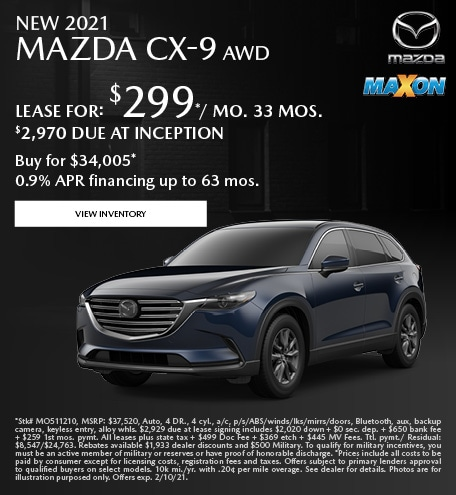 January New 2021 Mazda CX-9 AWD