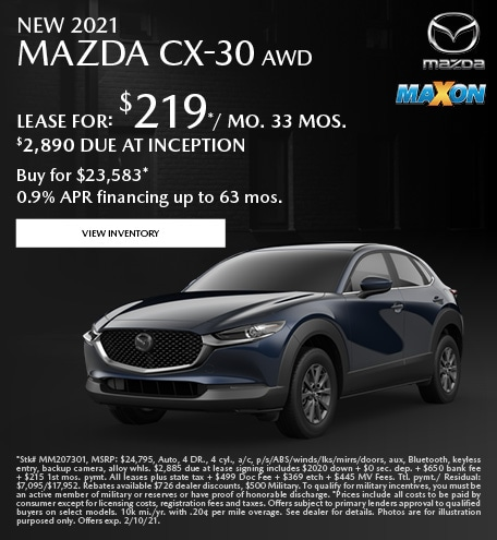 January New 2021 Mazda CX-30 AWD