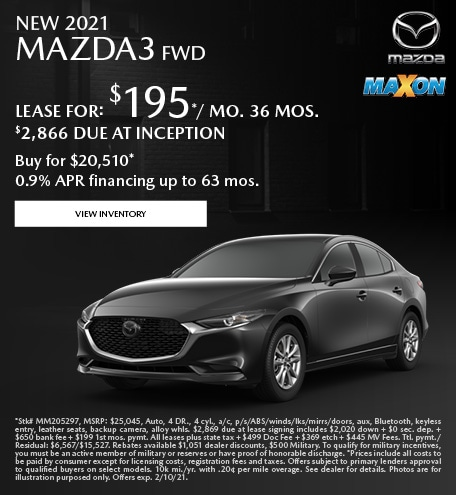 January New 2021 Mazda3 FWD
