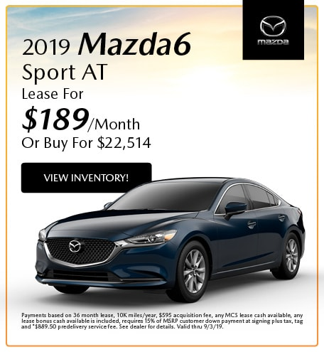 2019 Mazda6 Sport AT Lease- August