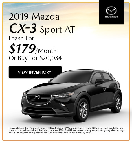 2019 Mazda CX-3 Sport AT Lease- August