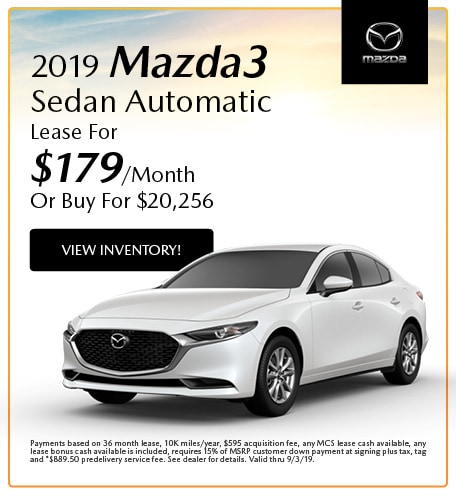 2019 Mazda3 Sedan Automatic Lease- August