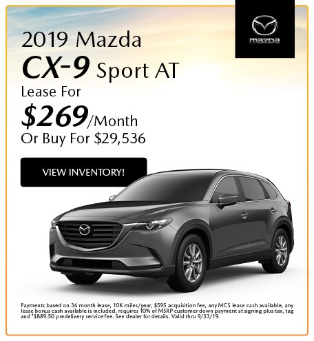 2019 Mazda CX-9 Sport AT Lease- August
