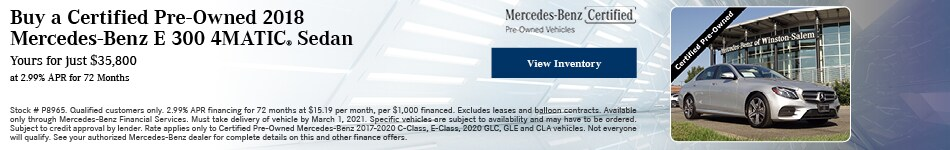 Buy a Certified Pre-Owned 2018 Mercedes-Benz E 300 4MATIC® Sedan