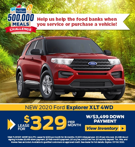 Lease a 2020 Ford Explorer XLT 4WD for $329/mo for 36 months!